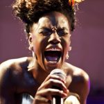 Shingai Shoniwa in her element during the Noisettes' performance on Thursday. (Pic: Jono Terry for Hifa)