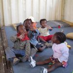 Kids play in a shipping container that's been turned into a creche in Nairobi. (Pic: David Gianti)