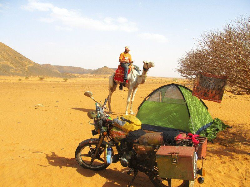 Camping in the Nubian desert between Khartoum and Atbara in Sudan.