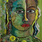 Ugandan artist Geoffrey Mukasa's 'Lady in Green' sold for Ksh 563 520. (Pic: Circle Art Agency)