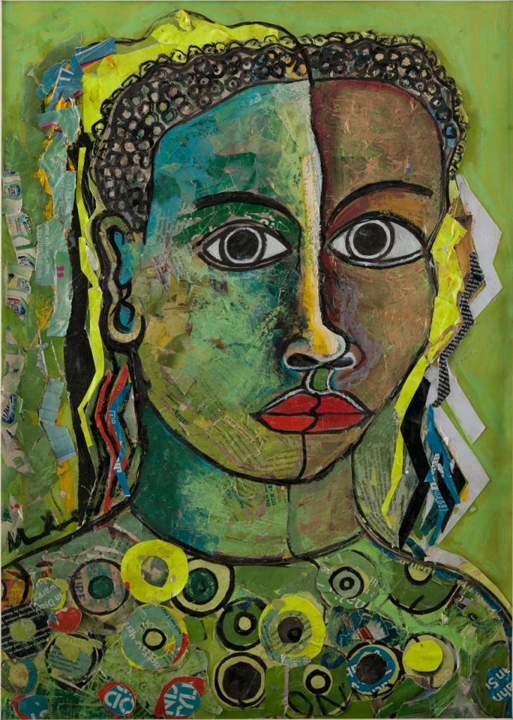 Ugandan artist Geoffrey Mukasa's 'Lady in Green' sold for Ksh 563 520. (Pic: Circle Art Agency)