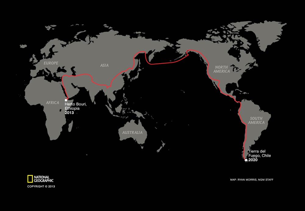 This image shows the route of Salopek's planned seven-year global trek from Ethiopia to Tierra del Fuego. (Pic: AP / National Geographic Society)