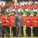 President Uhuru Kenyatta reviews the guard of honour during the celebrations marking Kenya's 50th year of independence. (Pic: AFP)