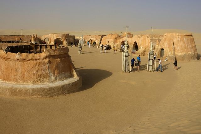 The set of Star Wars Episode 1 in the Sahara desert in Tunisia. (Pic: Flickr / Pondspider)