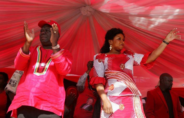 Former prime minister Morgan Tsvangirai and his wife Elizabeth Macheka (Pic: AFP)