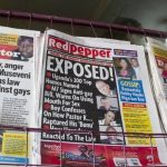 The tabloid 'Red Pepper' plays a lead role in the witch hunt for LGBTI Ugandans. (Pic: AFP)