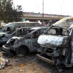 Burnt and damaged vehicles are seen at the scene of the bomb blast explosion at Nyanya on April 14. (Pic: Reuters)