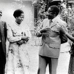 Methodist church reverend Canaan Banana (left) and his wife Janet share a moment with then Prime Minister Robert Mugabe (centre) and his wife Sally five days before independence celebrations. (Pic: STF)