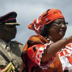 President Joyce Banda waves to the crowd gathered in Lilongwe for the official launch of her electoral presidential campaign, on March 29 2014 in Lilongwe. (Pic: AFP)
