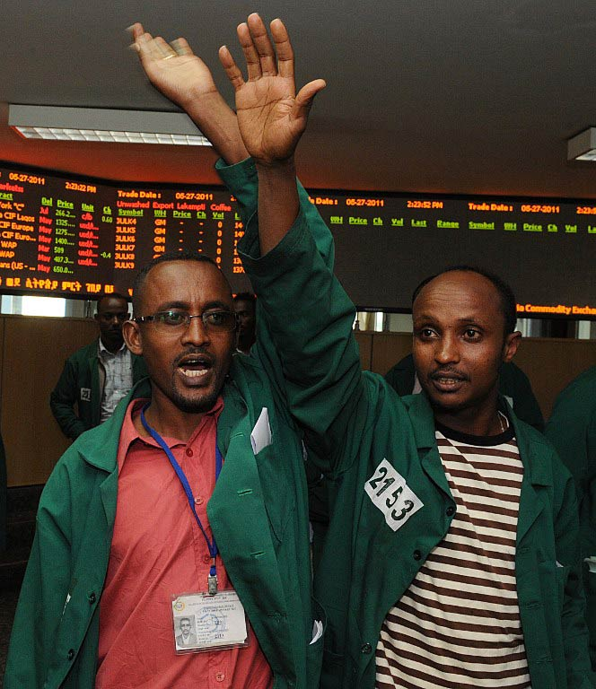 Ethipian traders work  on the floor of the Ethiopian Commodity Exchange in Addis Ababa. (Pic: AFP)