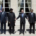 Niger's President Mahamadou Issoufou, Chad's President Idriss Deby Itno, Nigeria's President Goodluck Jonathan, France's President Francois Hollande, Cameroon's President Paul Biya, and Benin's President Thomas Boni Yayi pose for a photo during an African security summit to discuss the threat of Nigerian Islamist militant group Boko Haram to the regional stability, at the Elysee Palace in Paris on May 17 2014. (Pic: AFP)