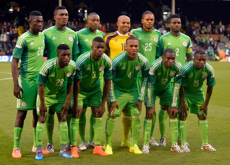 The Nigeria team ahead of their international friendly soccer match against Scotland at Craven Cottage in London on May 28 2014. (Pic: Reuters)