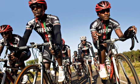 Members of the Kenyan Riders club, from left Samwel Ekiru, Suleiman Kangangi and Paul Ajiko. 'The world has to watch out,' says their coach Simon Blake. (Pic: Nicolas Leong)