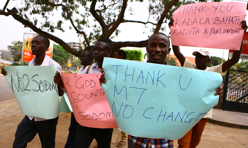 Anti-gay supporters celebrate after Uganda's President Yoweri Museveni signed a law imposing harsh penalties for homosexuality on February 24 2014. (Reuters, Edward Echwalu)