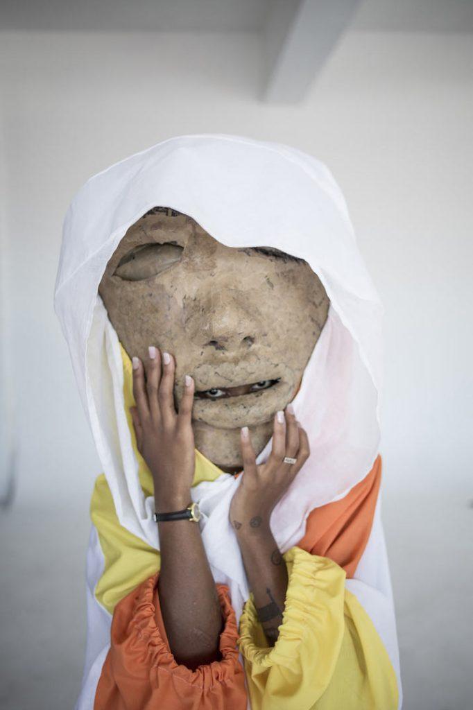 Manthe Ribane models a Macdonald Mfolo creation. (Pic: Chris Saunders)