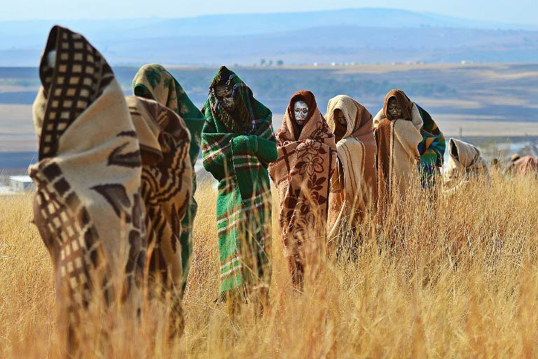 Boys from the Xhosa tribe who have undergone a circumcision ceremony are pictured near Qunu in the Eastern Cape on June 28 2013. (Pic: AFP)