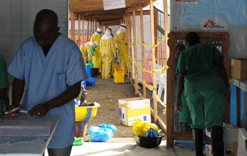 Health workers at ELWA's hospital isolation camp in Liberia. (Pic: Reuters)