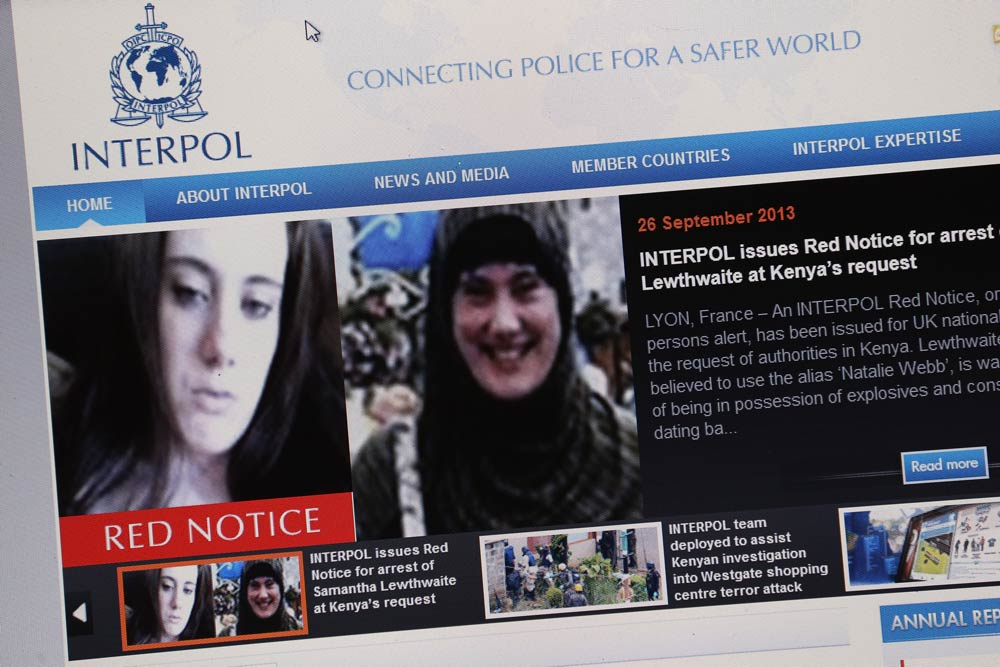 A 'Red Notice' for the arrest of Samantha Lewthwaite issued by Interpol. (Pic: Getty)