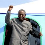 Zambian President Michael Sata gestures upon arrival at Solwezi airport before addressing supporters at an election campaign meeting on September 10 2014. The next national election in Zambia was not due until 2016, but as a result of Sata's death a presidential vote will have to be held within the next 90 days. (Pic: AFP)