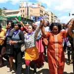 Women take part in a protest along a main street in Nairobi on November 17 2014. They demanded justice for a woman who was attacked for being dressed 'indecently'. (Pic: Reuters)