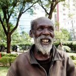 """So what do you do daily?"" ""I just walk around looking for food... I'm 72."" ""And you're still strong ey?"" ""Yes, and if someone would hire me, I can still work."" (Pic: Homeless of Nairobi)"