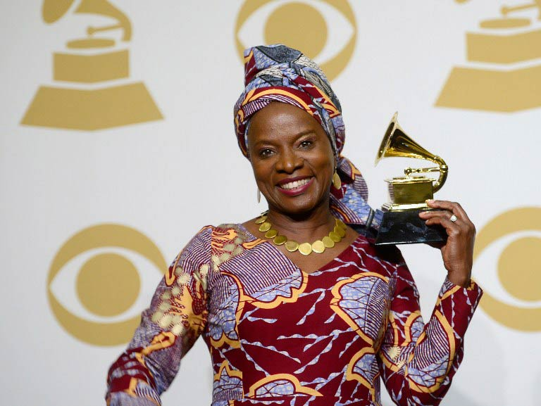 Angelique Kidjo, winner of the Best World Music Album Award for 'Eve', at the 57th Annual Grammy Awards on February 8. (Pic: AFP)