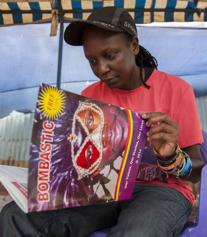 Kasha Jacqueline Nabagesera with an issue of 'Bombastic'. (Pic: AFP)