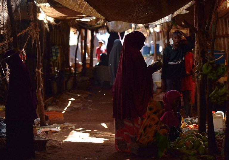 A Somali refugee shops for fresh produce at a market within the Hagadera camp of Dadaab. (Pic: AFP)