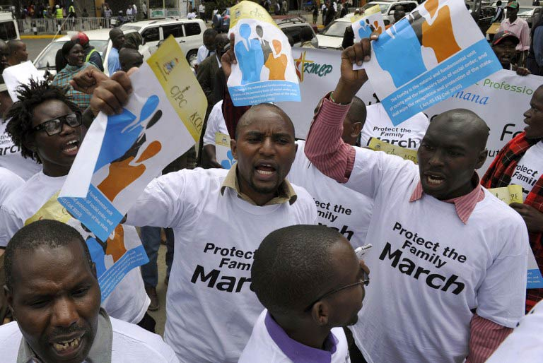 Kenyans, some of whom are members of a Christian lobby group, hold a protest against homosexuality in the capital Nairobi, on July 6, 2015, signalling to US President Barack Obama their opposition to gay rights ahead of his visit to Kenya. (Pic: AFP)