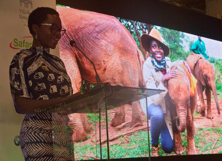 Lupita Nyong'o delivers a speech during a press conference at the Villa Rosa Kempinski hotel in Nairobi on June 30 2015. (Pic: AFP)