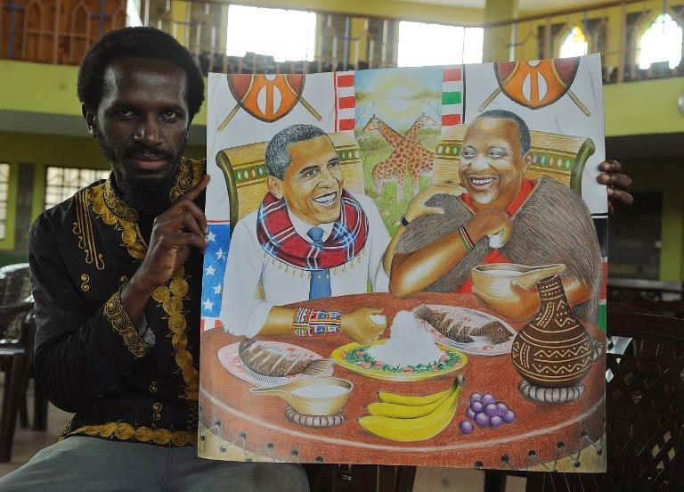 Kenyan artist Dayan Masinde, displays a piece of his art in Nairobi on June 26, 2015 depicting US President, Barack Obama with Kenya's President Uhuru Kenyatta sharing a local dish. (Pic: AFP)