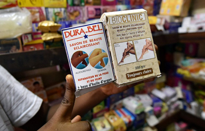 Skin whitening products for sale at a boutique at the Marche de Marcory in Abidjan. (Pic: AFP)