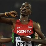 "Asbel Kiprop celebrates as he wins the final of the men's 1500 metres athletics event at the 2015 IAAF World Championships at the ""Bird's Nest"" National Stadium in Beijing on August 30 2015. (Pic: AFP)"