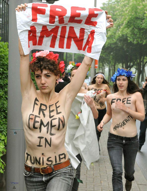 Women from the Femen activist group take part in a protest calling for Amina's release on May 30 2013, in front of the Tunisian embassy in Brussels. (Pic: AFP)