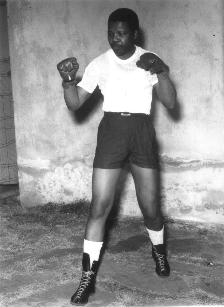 A young Nelson Mandela in boxing gear. (Gallo)